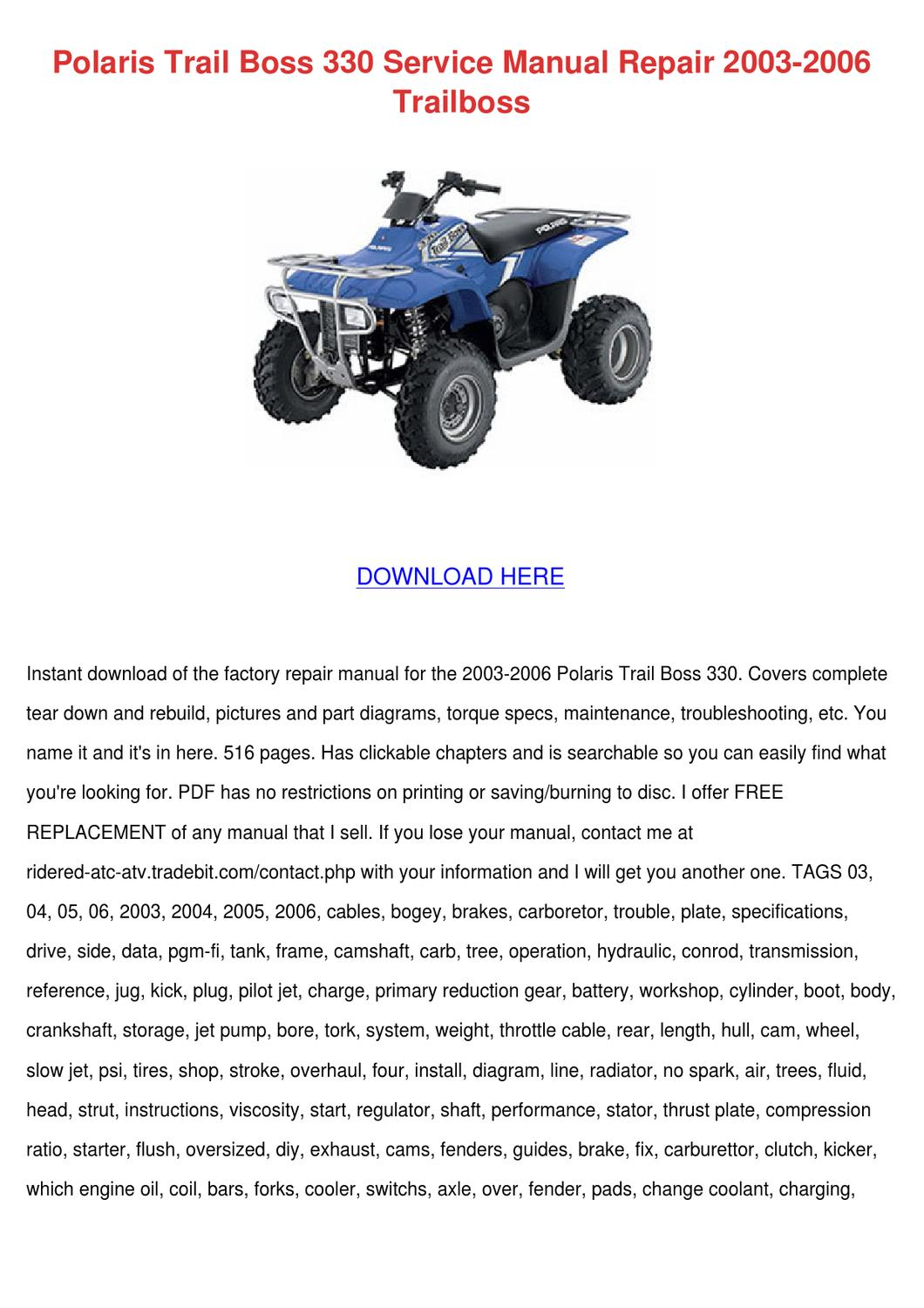 Polaris Trail Boss 330 Service Manual Repair by Wilhelmina Schmitke - issuu
