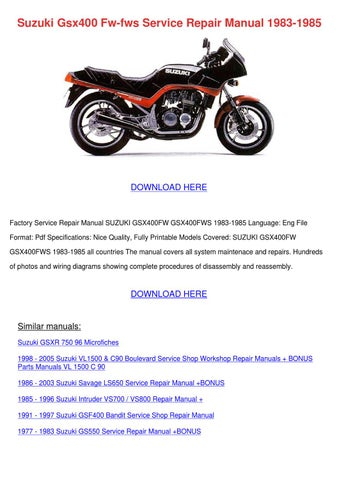 Suzuki Gsx400 Fw Fws Service Repair Manual 19 By Wilhelmina Schmitke Issuu