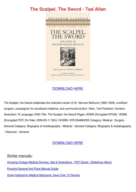 The Scalpel The Sword Ted Allan by Jenae Rheinhardt - issuu