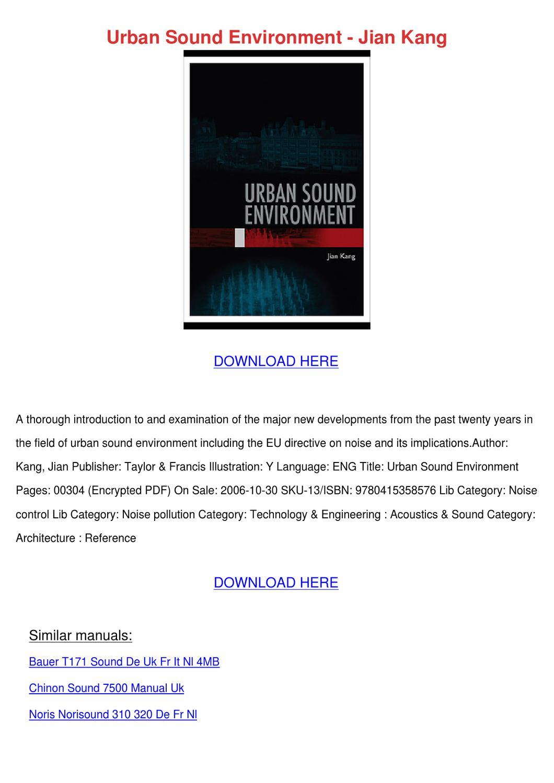 Urban Sound Environment Jian Kang by Jenae Rheinhardt - issuu