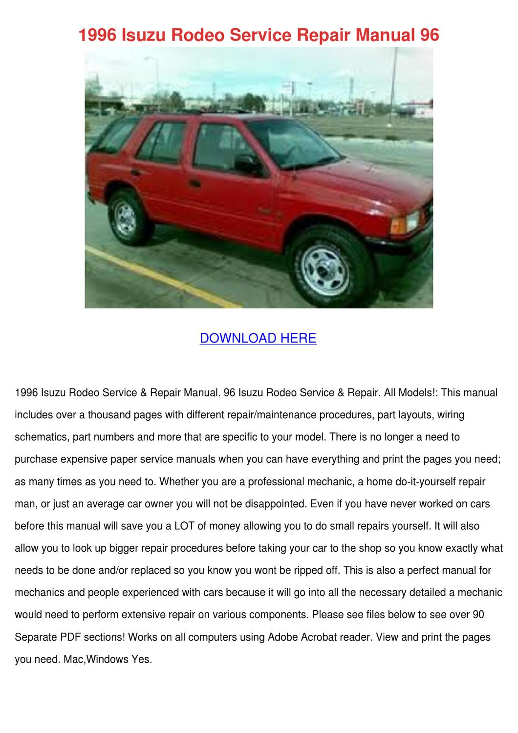 1996 isuzu rodeo service repair manual 96 by cathi keegan issuu rh issuu  com 1999 Isuzu Amigo Review 1999 Isuzu Amigo Review