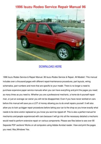 1996 isuzu rodeo service repair manual 96 by cathi keegan issuu rh issuu com 2005 Holden Rodeo 2005 Holden Rodeo