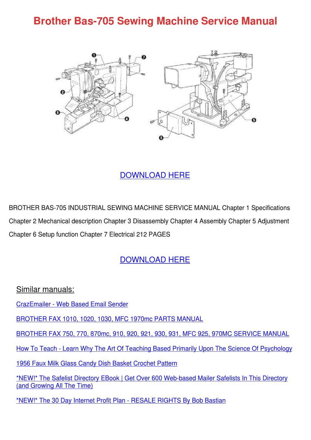 Brother Bas 705 Sewing Machine Service Manual by Cathi Keegan - issuu