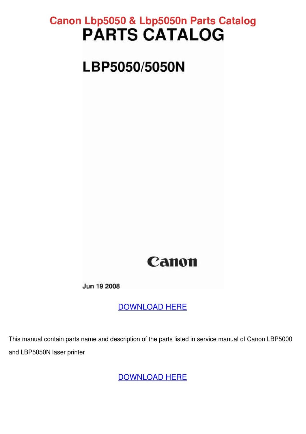 Canon Lbp5050 Lbp5050n Parts Catalog by Cathi Keegan - issuu