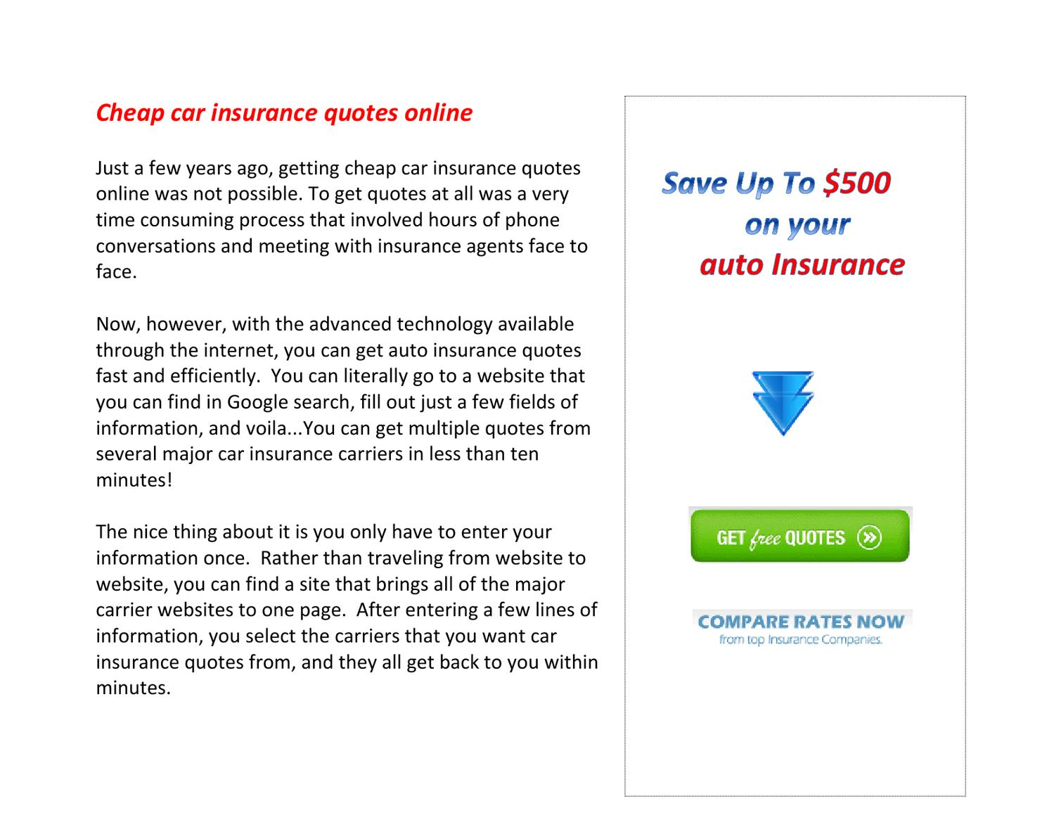 Cheap Car Insurance Quotes Online By Heather Cobb Issuu