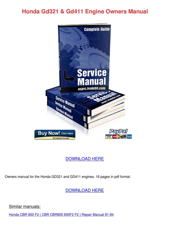 Honda Gd321 Gd411 Engine Owners Manual by Jayna Guzzi - issuu