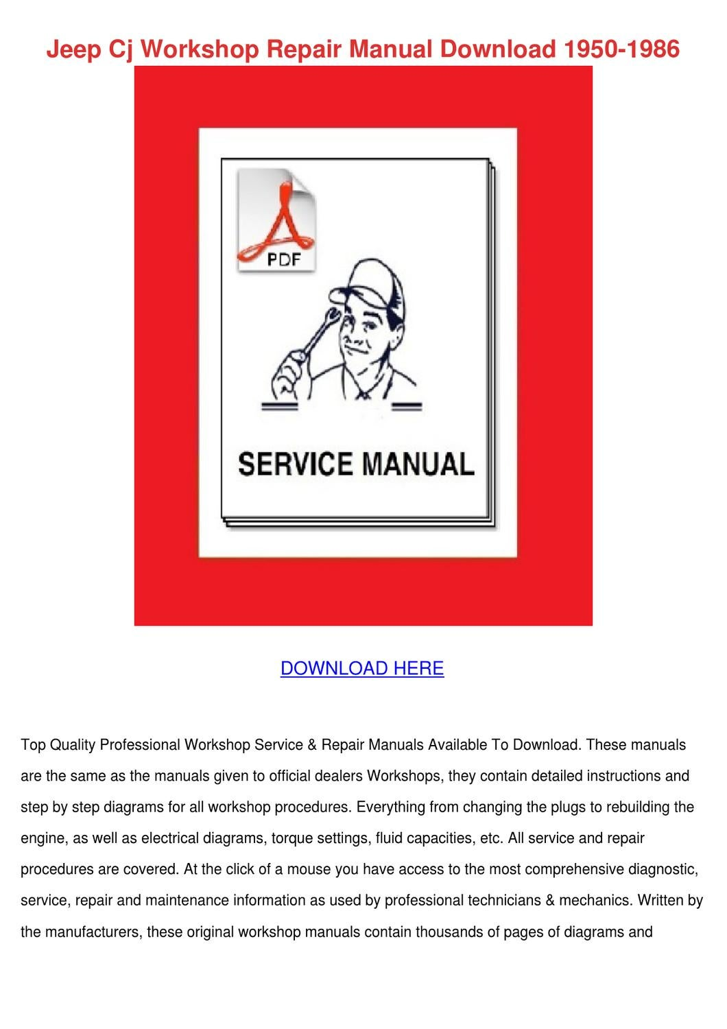 Jeep Cj Workshop Repair Manual Download 1950 By Kam Shull Issuu Willys Jeepster Wiring Diagram