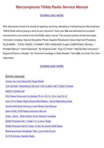 Marconiphone T69da Radio Service Manual by Kam Shull - issuu