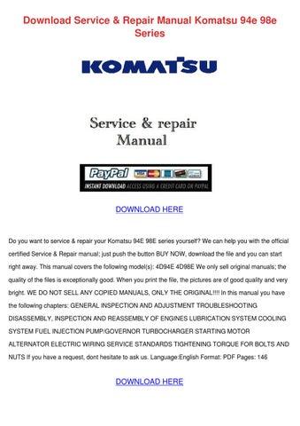 komatsu pc10 7 pc15 3 pc20 7 hydraulic excavator service shop repair manual