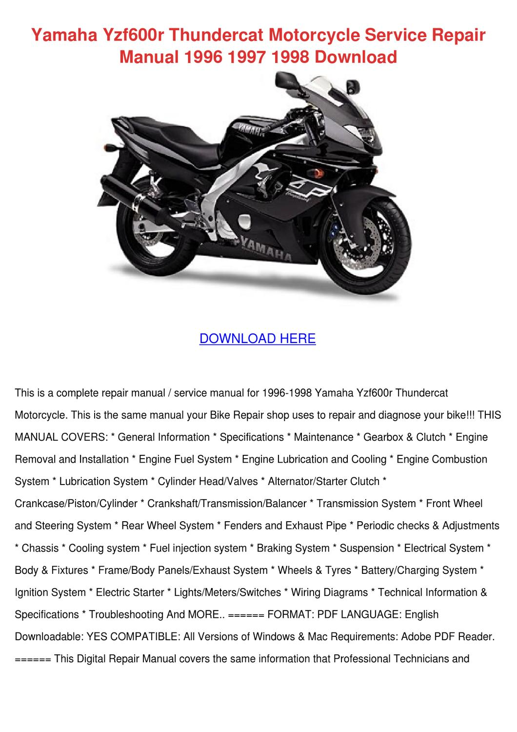 Yamaha Yzf600r Thundercat Motorcycle Service by Margorie ... on