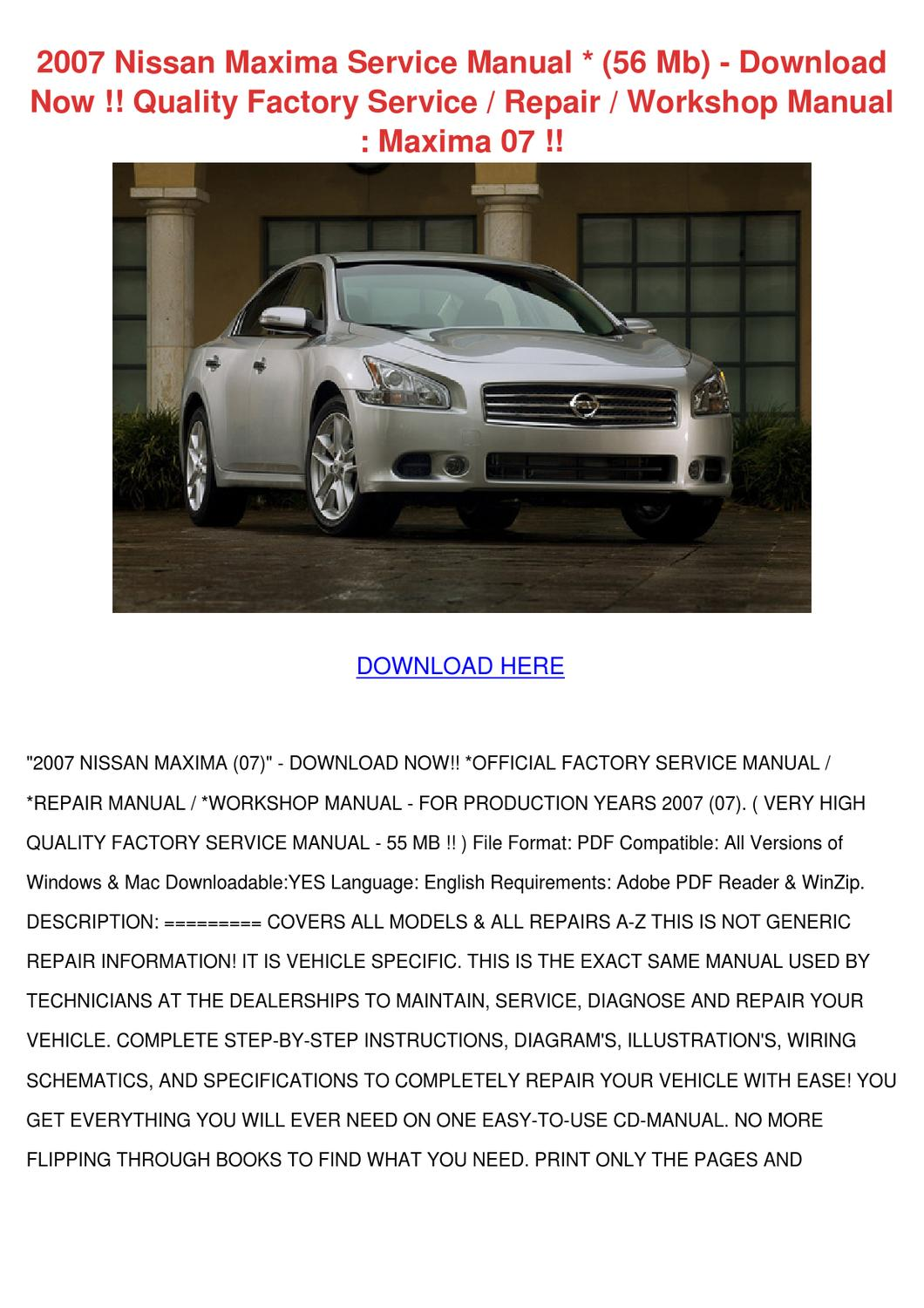 2007 Nissan Maxima Service Manual 56 Mb Downl By Toby