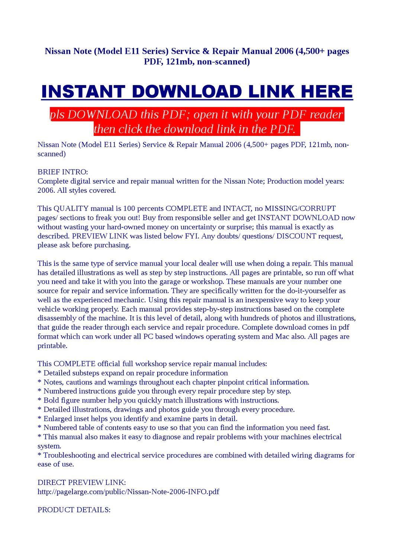 nissan e11 service manual