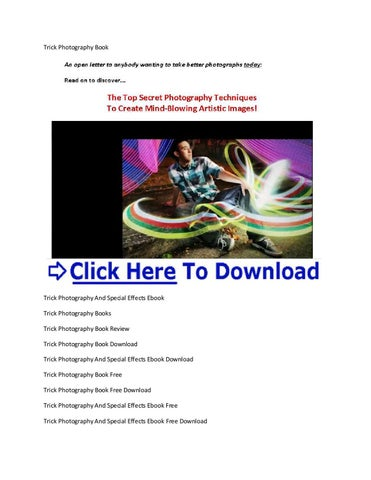 Trick Photography Special Effects Ebook
