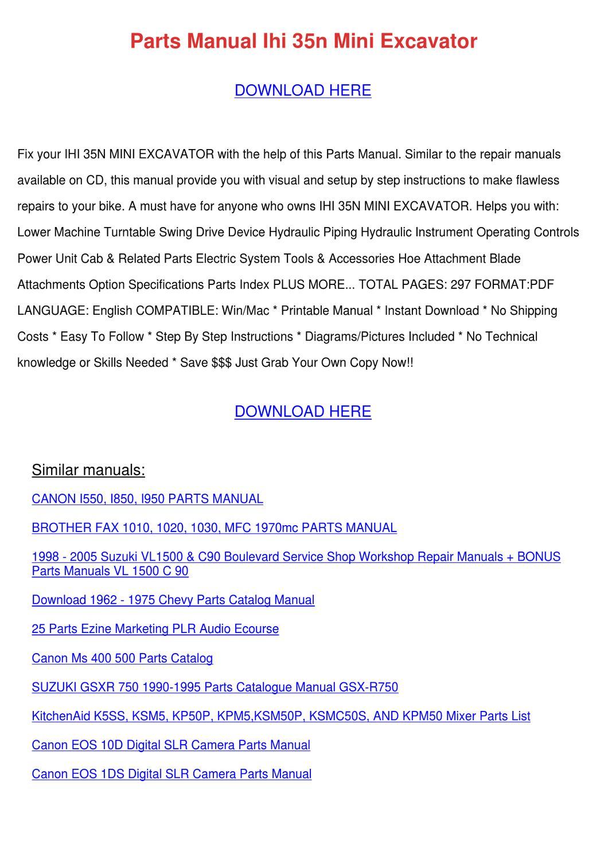 Parts Manual Ihi 35n Mini Excavator by Julieta Annala - issuu on