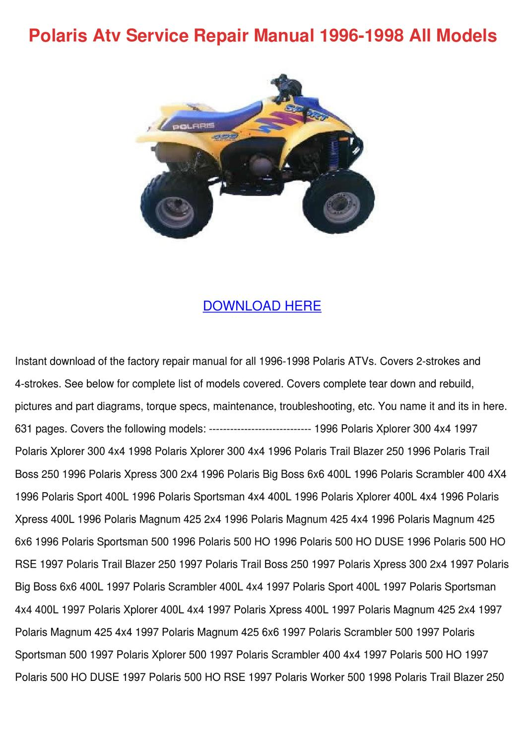 Polaris Atv Service Repair Manual 1996 1998 A By Julieta Annala Issuu