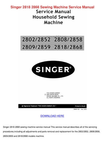 Singer 40 40 Sewing Machine Service Manua By Julieta Annala Issuu Mesmerizing Singer Sewing Machine Service Manual