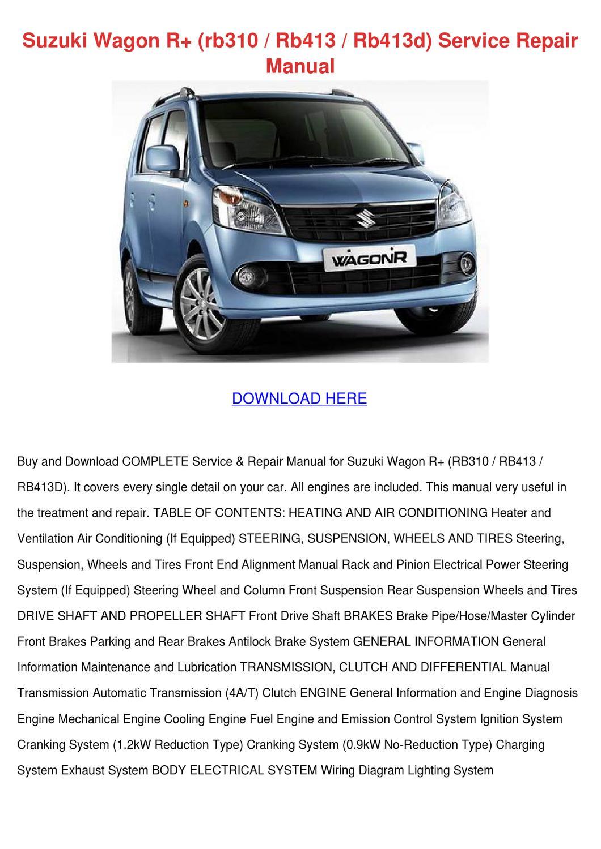 Suzuki Wagon R Rb310 Rb413 Rb413d Service Rep By Julieta Annala Issuu Engine Diagram