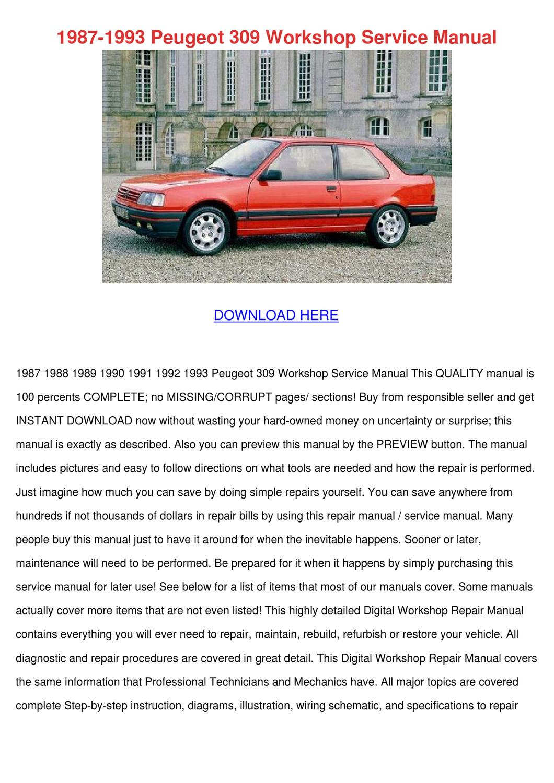 1987 1993 Peugeot 309 Workshop Service Manual By Micaela Luria Issuu
