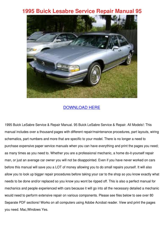 1995 Buick Lesabre Service Repair Manual 95 by Micaela Luria - issuu