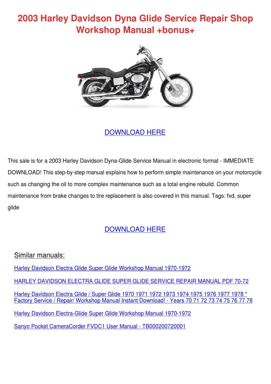 2003 Harley Davidson Dyna Glide Service Repai by Micaela Luria - issuu