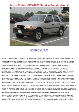 2002 isuzu rodeo owners manual pdf