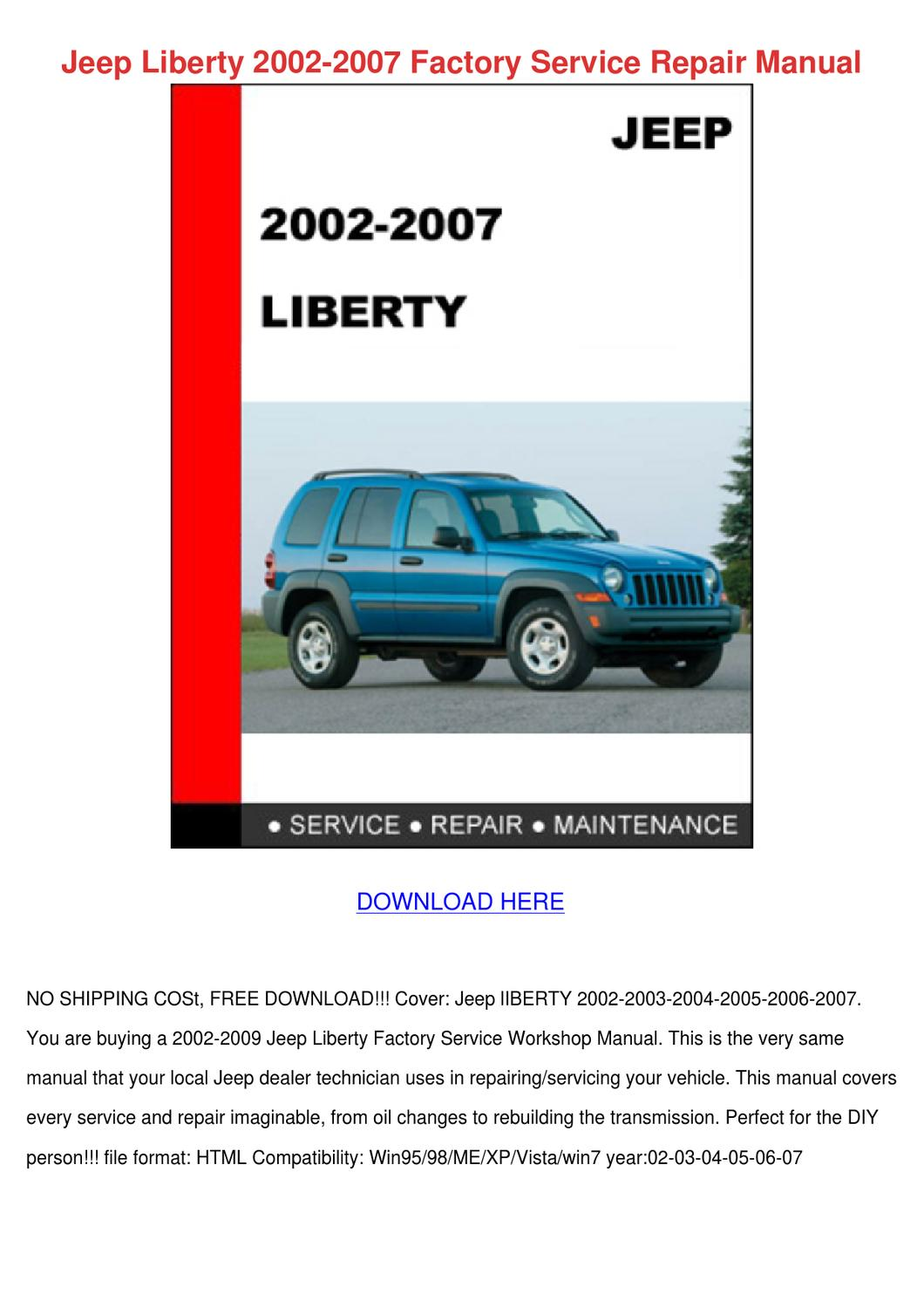jeep liberty 2002 2007 factory service repair by keturah