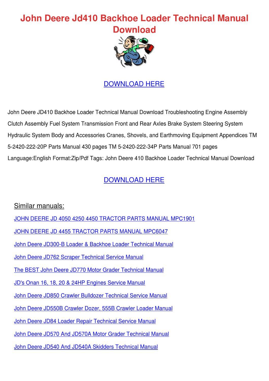 John Deere Jd410 Backhoe Loader Technical Man by Keturah Ellenberg - issuu