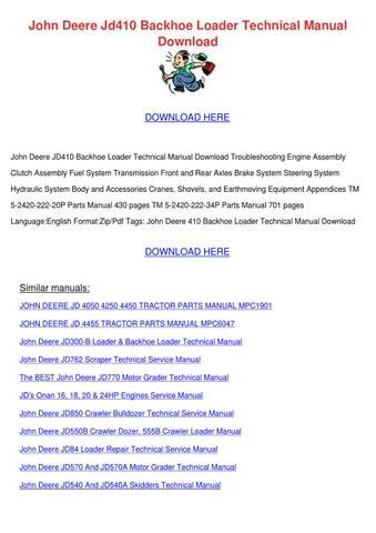 John Deere Jd410 Backhoe Loader Technical Man By Keturah