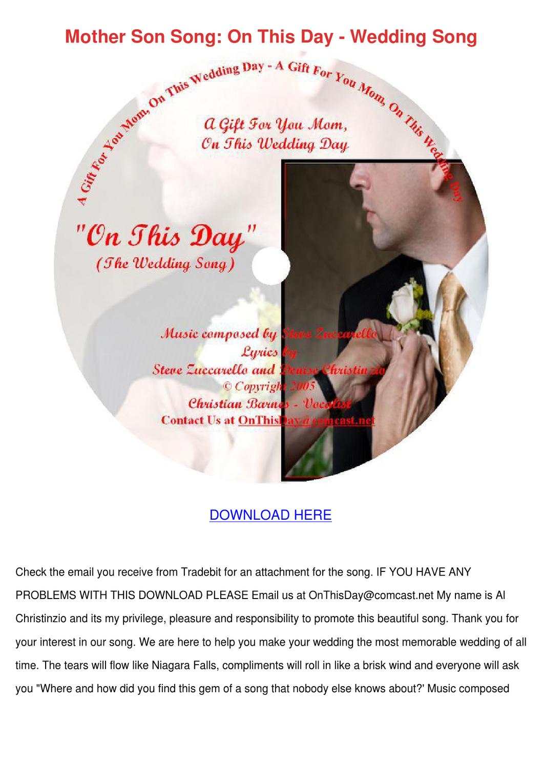 Mother Son Song On This Day Wedding Song by Keturah Ellenberg - issuu
