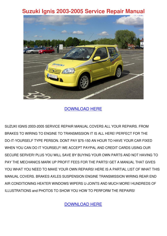 Suzuki Ignis 2003 2005 Service Repair Manual by Beverley Bobadilla ...