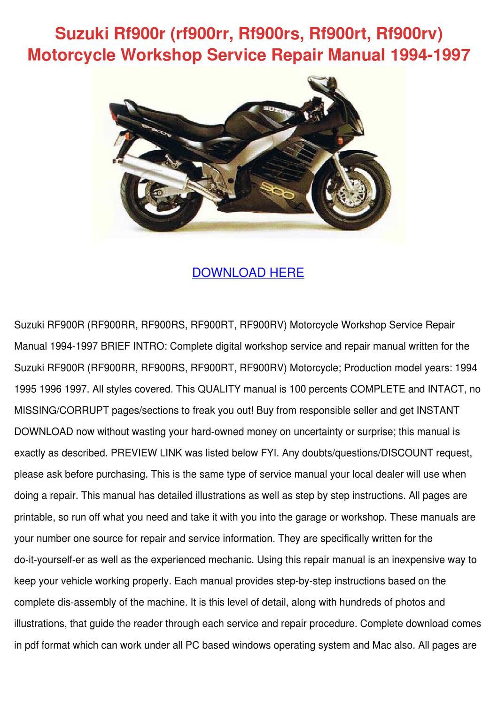 Suzuki Rf900r Rf900rr Rf900rs Rf900rt Rf900rv by Beverley Bobadilla - issuu