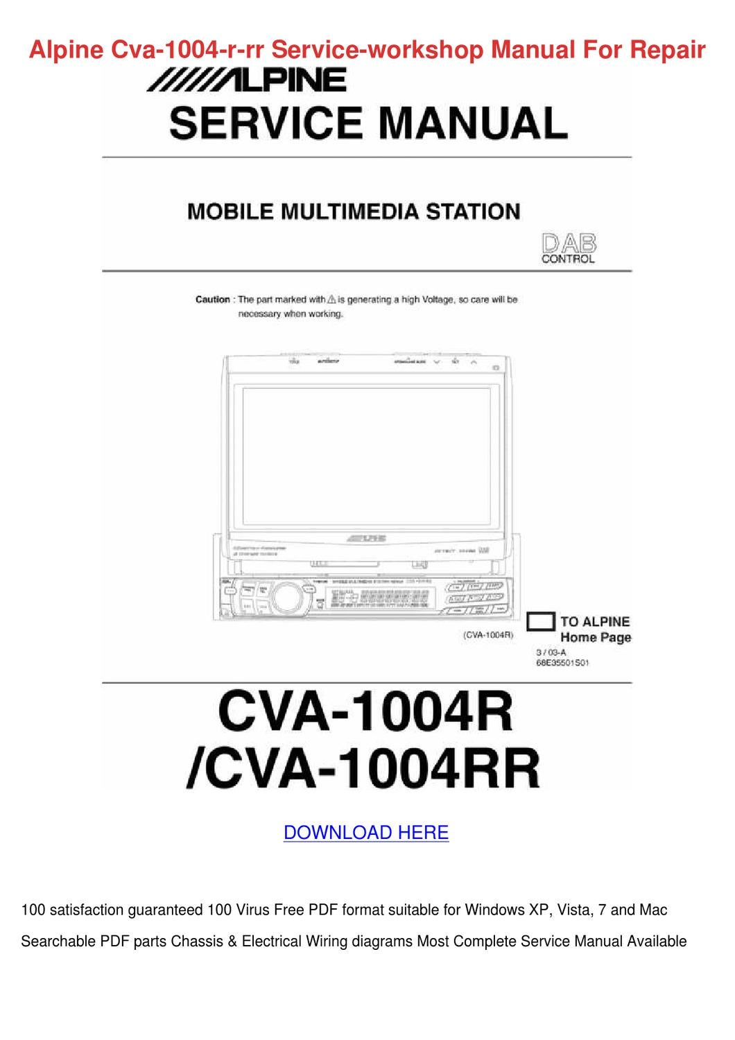 Alpine Cva 1004 R Rr Service Workshop Manual By Loretta Holquin Issuu Cda 9884 Wiring Diagram