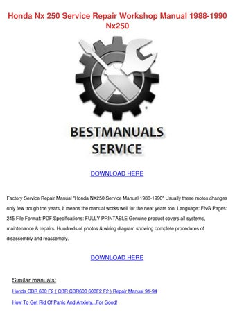 Honda Nx 250 Service Repair Workshop Manual 1 by Lita Salwasser ...
