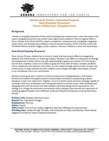 Empathy Movement Internship TOR - Ashoka Arab World by Media