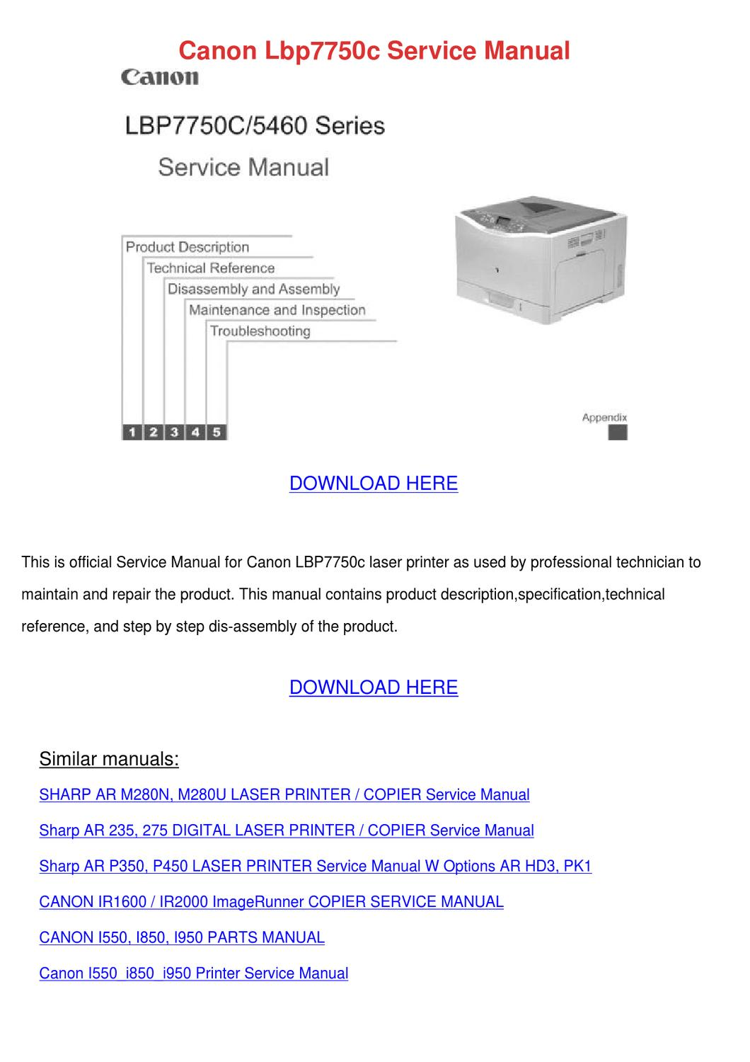canon lbp7750c service manual by maricruz pascascio issuu rh issuu com canon  copier machine service manual canon copier service manual imageclass d320