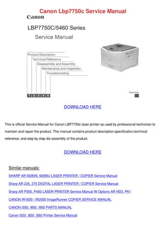 canon lbp7750c service manual by maricruz pascascio issuu rh issuu com Canon iP5000 Driver Windows 7 canon pixma ip5000 service manual