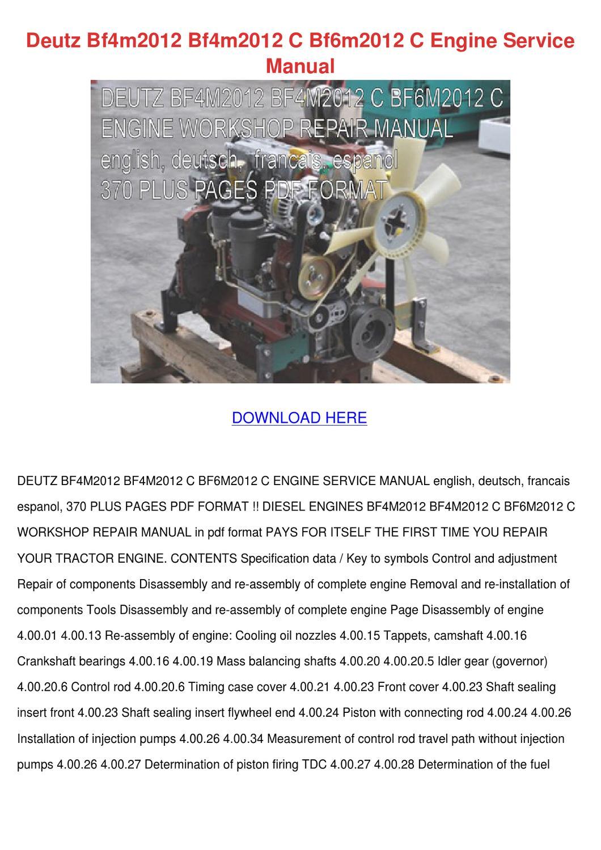 Deutz Bf4m2012 Bf4m2012 C Bf6m2012 C Engine S by Maricruz ...
