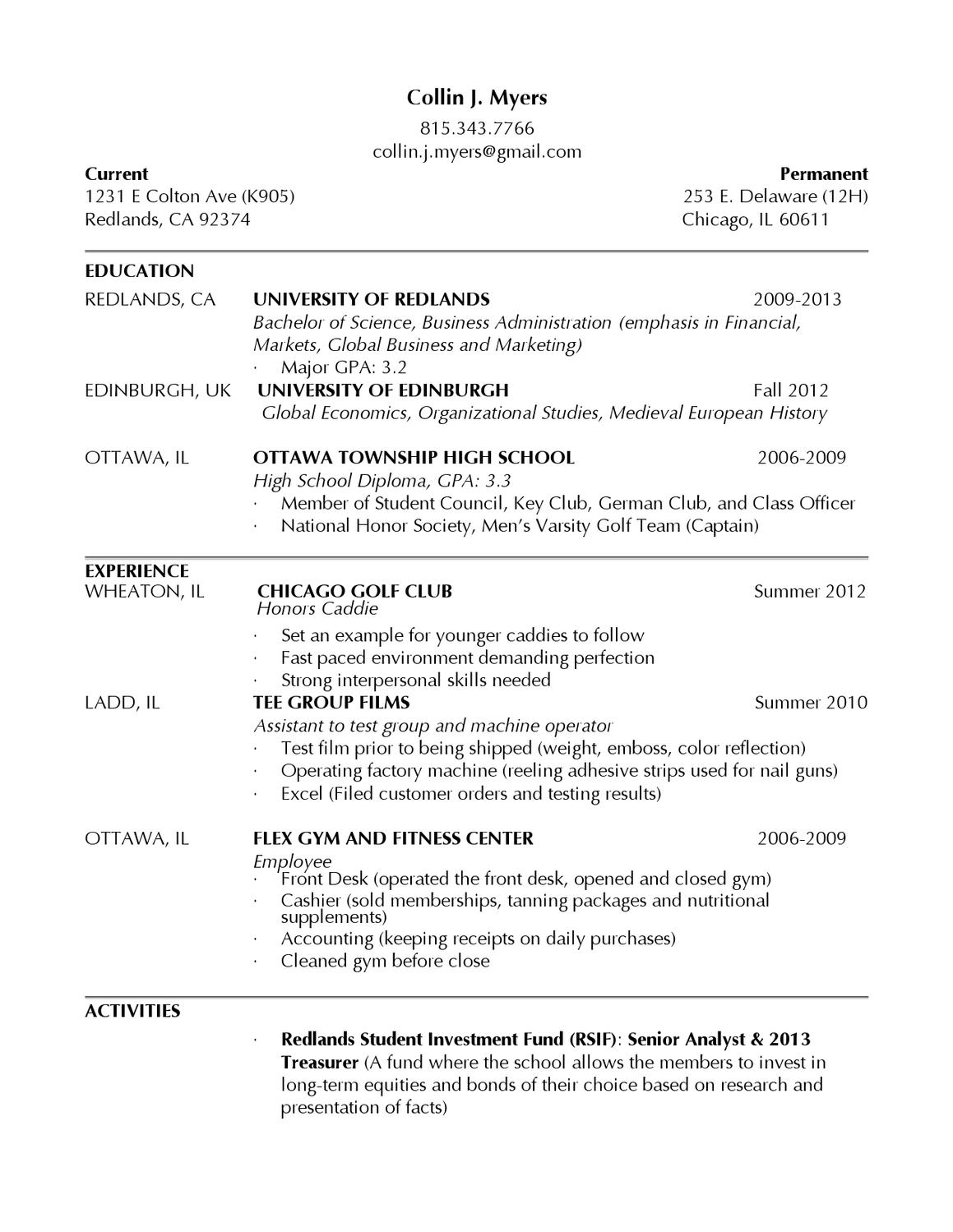 resume by collin myers