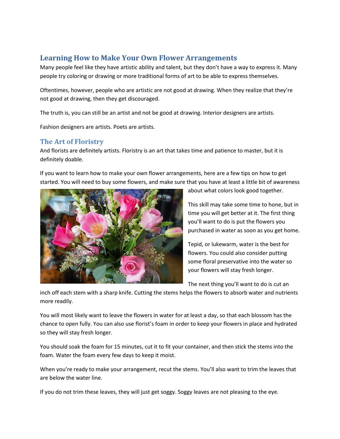 Learning How To Make Your Own Flower Arrangements By McClain My