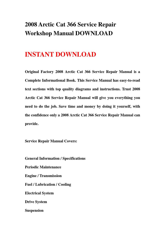 2008 Arctic Cat 366 Service Repair Workshop Manual
