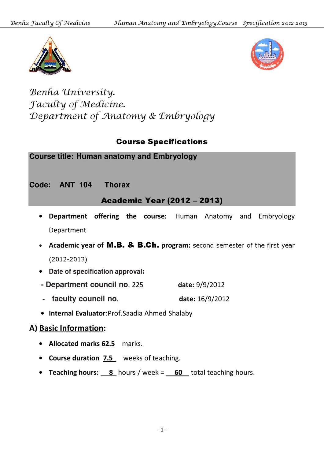 Anatomy course specification (Thorax) 1st year by IS Raa - issuu