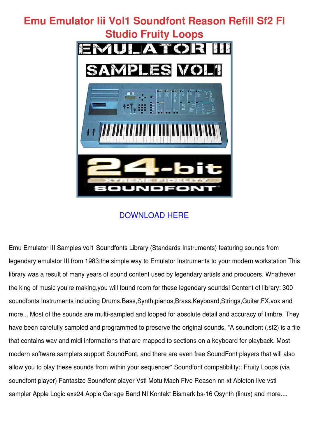 Emu Emulator Iii Vol1 Soundfont Reason Refill by Alise Neveu - issuu