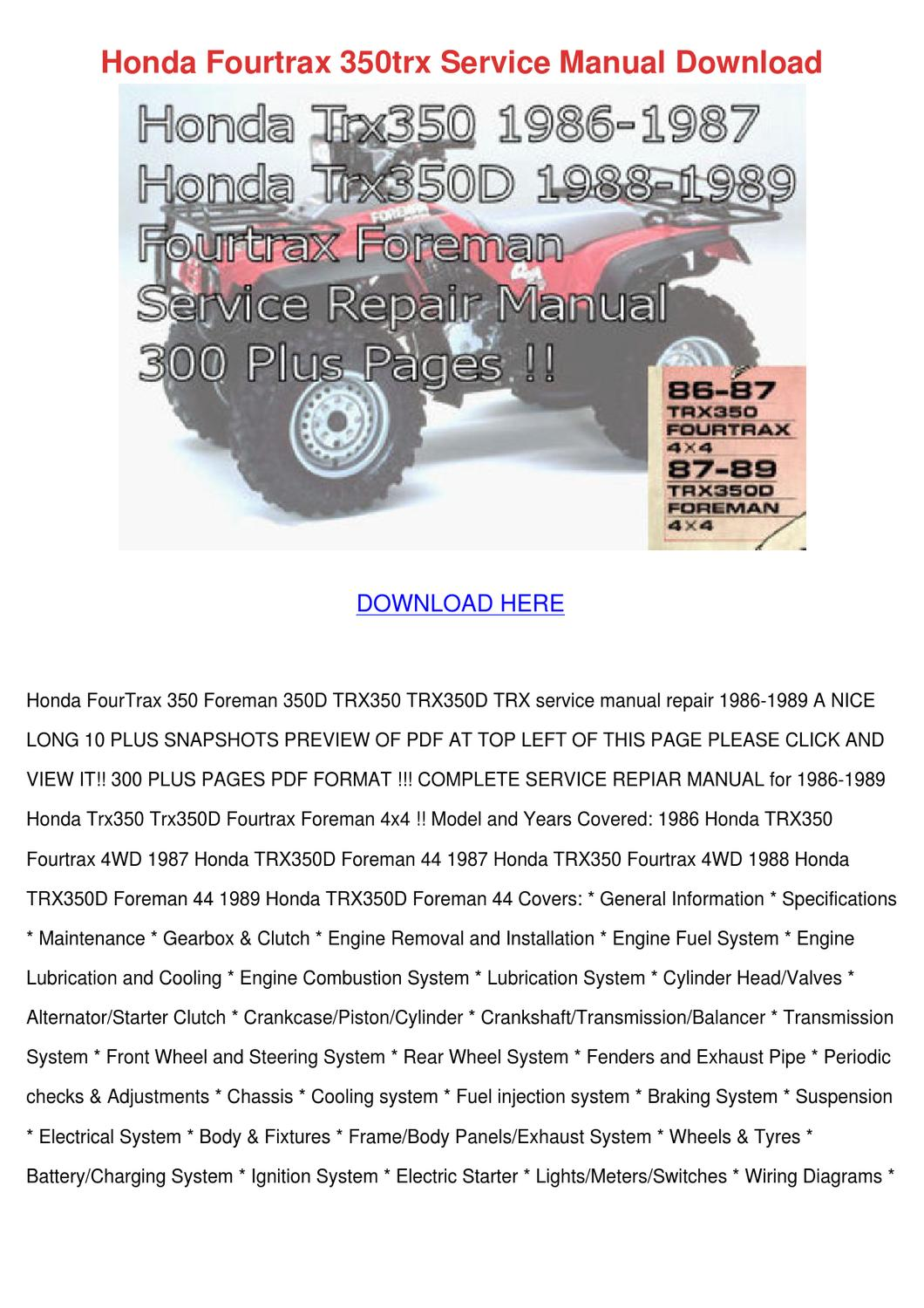 Honda Fourtrax 350trx Service Manual Download By Alise Neveu Issuu