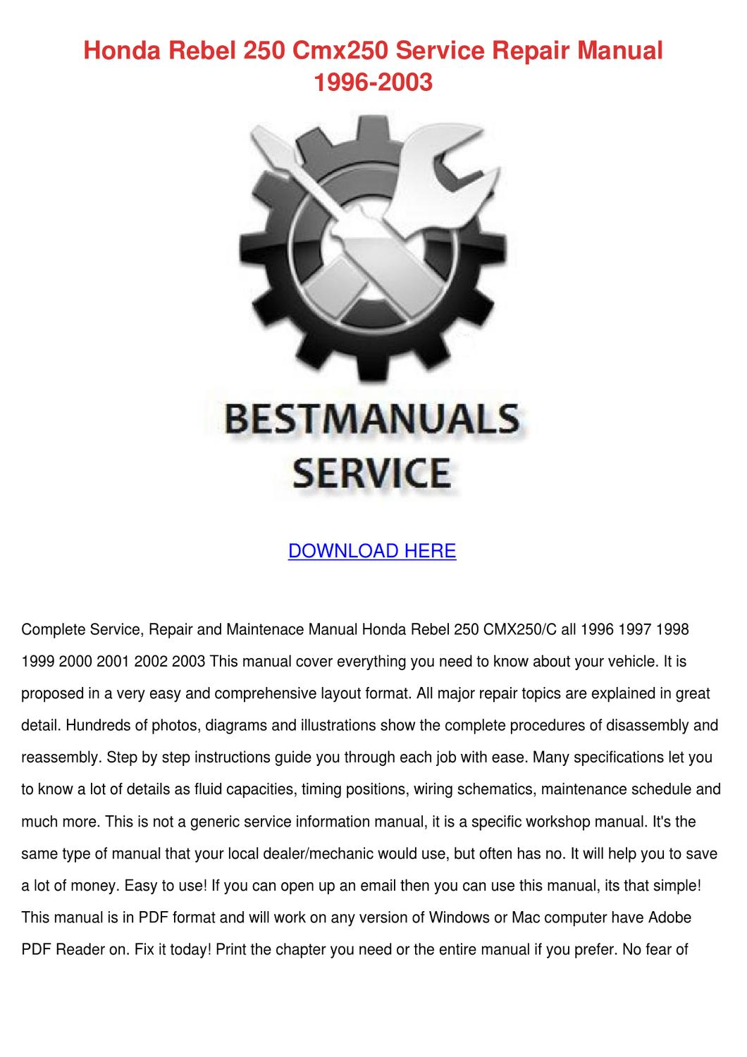 honda rebel 250 cmx250 service repair manual by alise neveu issuu