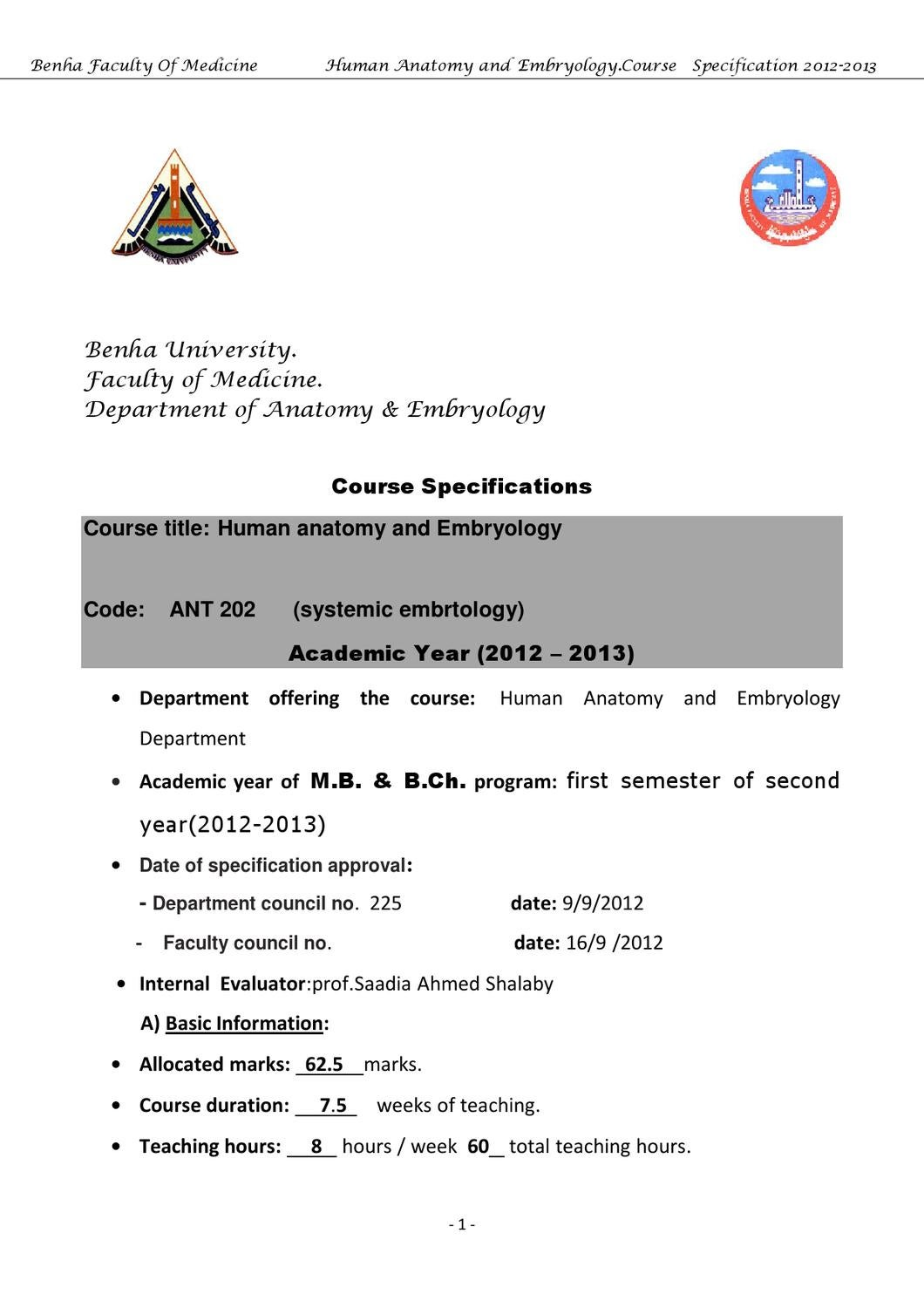 Course Specification - Anatomy 2nd year -Systemic Embryology by IS ...