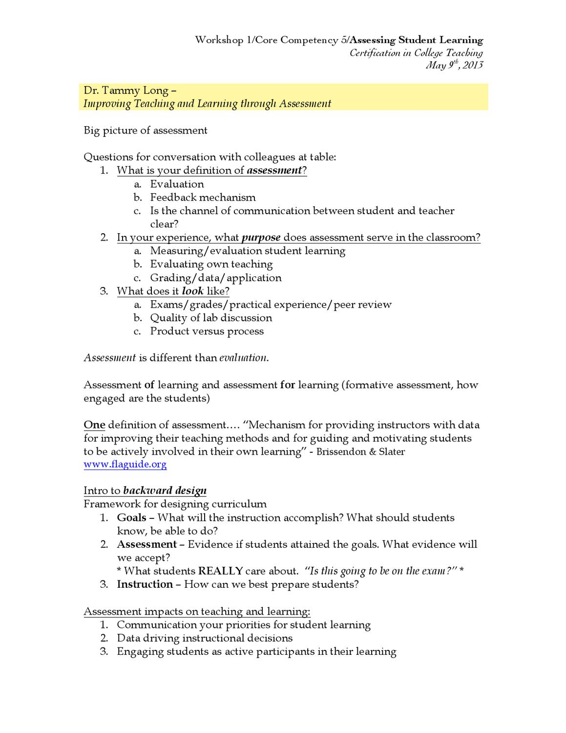 Notes: Assessing Student Learning by Sandra Sawaya - issuu