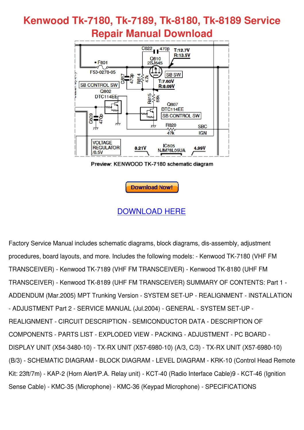 Kenwood Tk 7180 7189 8180 8189 Servi By Arielle Hulburt Issuu Wiring Diagram Kdc Mp638u