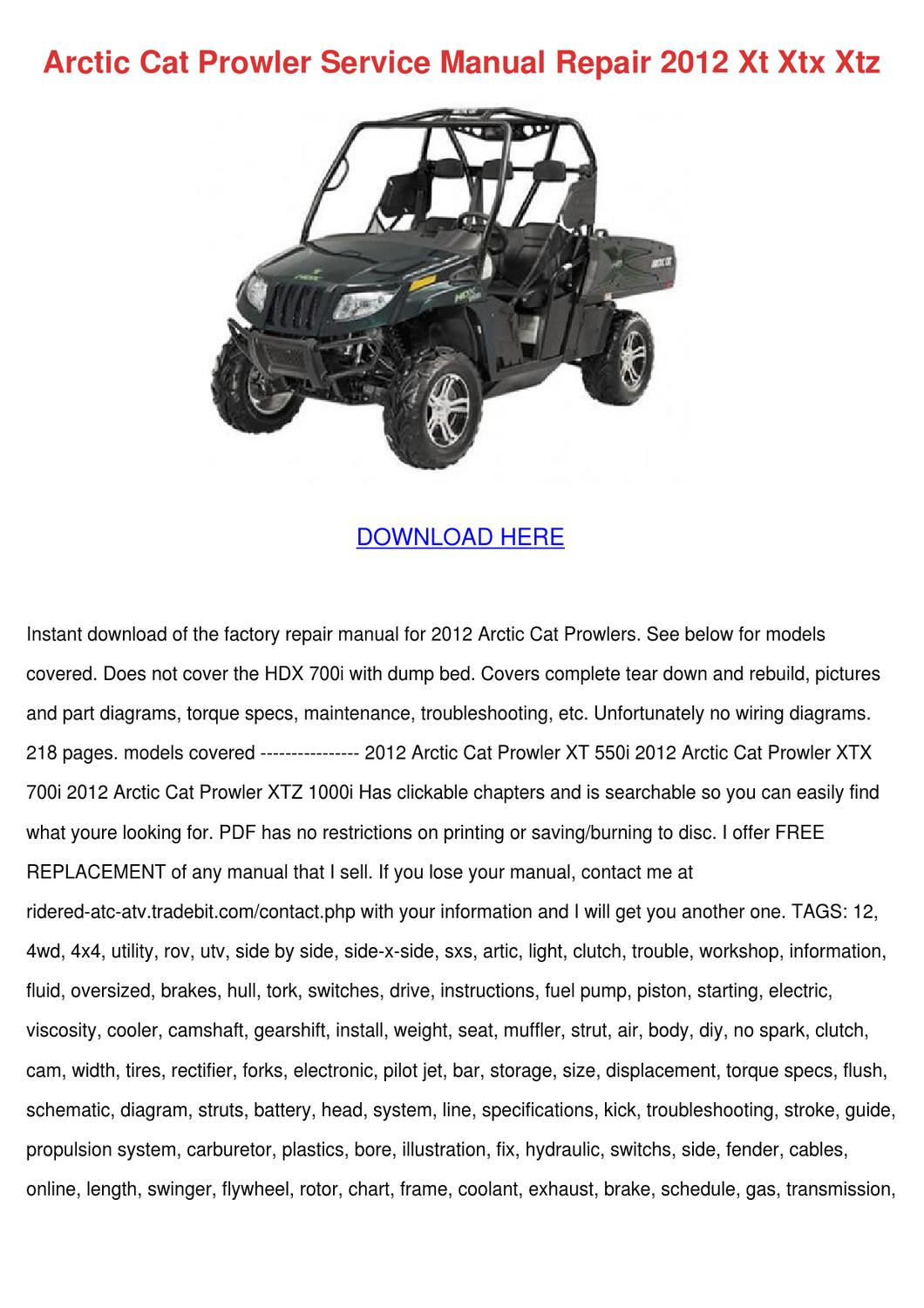 Arctic Cat Prowler Service Manual Repair 2012 By Princess