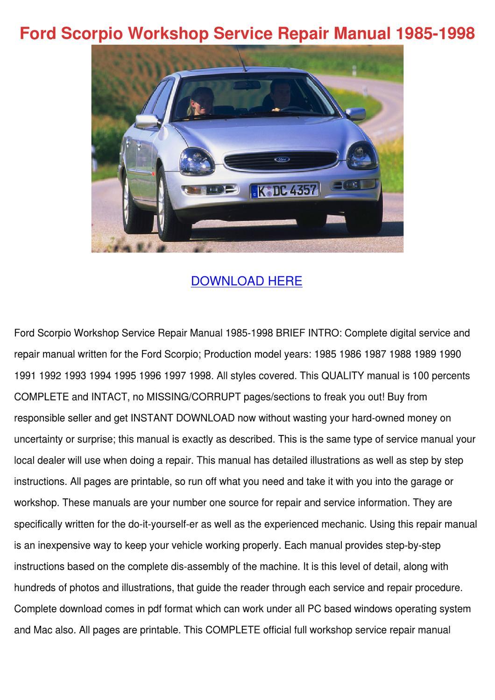 Ford Scorpio Workshop Service Repair Manual 1 by Ming Sitt - issuu