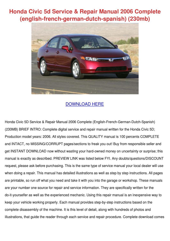 Honda Civic 5d Service Repair Manual 2006 Com by Ming Sitt - issuu